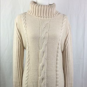 Tunic long cream sweater center cable L